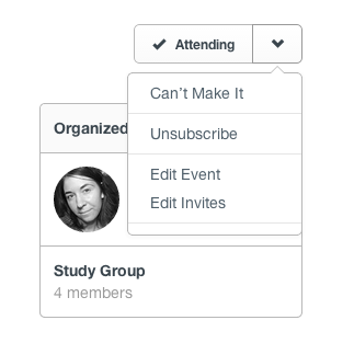 Event Page Organizer Dropdown